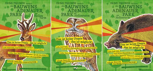 Plakate aus der dreimotivigen Reihe können Laden- und Cafébesitzer gerne im Weltempfänger in Ehrenfeld abholen