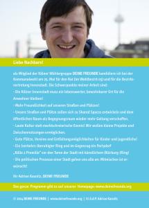 Adrian Kasnitz kandidiert bei der Kommunalwahl am 25. Mai für den Rat (im Wahlbezirk 03) und für die Bezirksvertretung Innenstadt.
